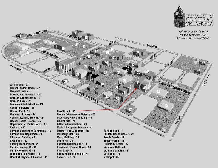 uco edmond campus map Uco Ms In Engineering Physics